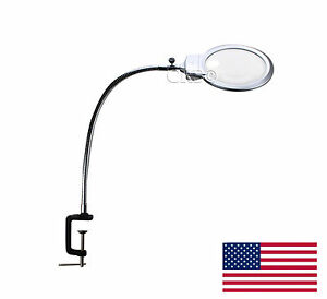 Large Metal Magnifying Glass Clamp On Table Desk Lamp Led