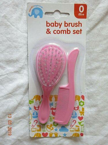 meses bebé niño niña Brush /& Peine Set Rosa Azul Blanco Colores Bebés Niños Pequeños