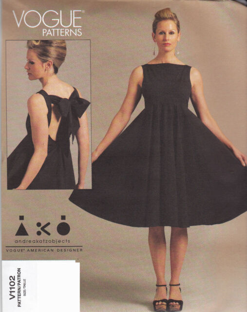 Sewing Pattern Vogue 1102 Ladies Dress Back Bow Detail Flared Skirt ...