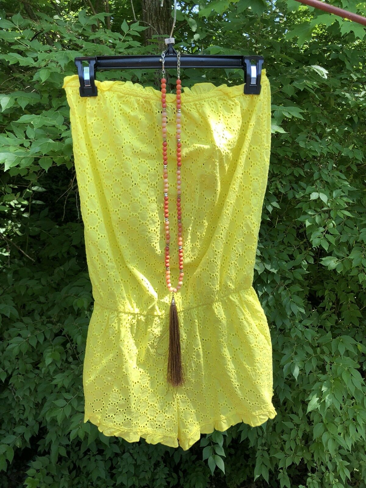 New Victoria Secret Yellow Cotton Size M Summer Romper  Dress Shorts