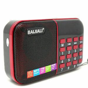 Mini radio portatile radiolina FM lettore mp3 USB microSD BJL-180 + Batteria