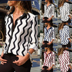 2beaebdeb Casual Women Striped Long Sleeve Turn Down Collar Button Front Shirt ...