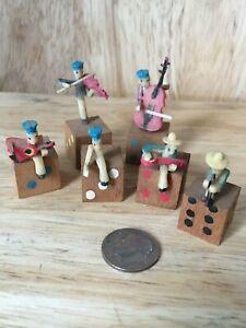 Vintage Set of 6 Miniature Musicians on Mini Dice Guitar Banjo Violin Flute Bass