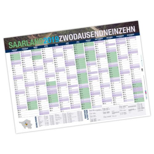 118,9 x 84,1 cm Jahresplaner Saarland 2019 DIN A0 250 g//m² gerollt STABIL