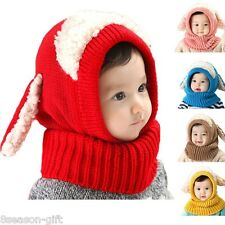 HX Baby Girls Boys Warm Hat Winter  Hooded Scarf Earflap Knitted Cap