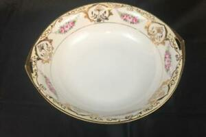 Nippon-Hand-Painted-Porcelain-Raised-Gold-Trim-Twin-Handle-Serving-Bowl