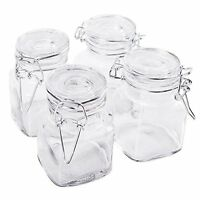 3 1/4 Square Glass 3oz Jar With Hinge Glass Lid For Home Kitchen, Arts & Crafts