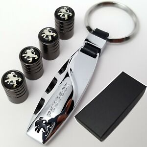 Peugeot-Car-Keyring-4x-Tyre-Valve-Dust-Caps-With-Box-Gift-Ideas-For-Him-Her