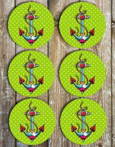 Anchor-Drink-Coasters-Set-of-6-Non-Slip-Neoprene-Rockabilly-Style-Barware