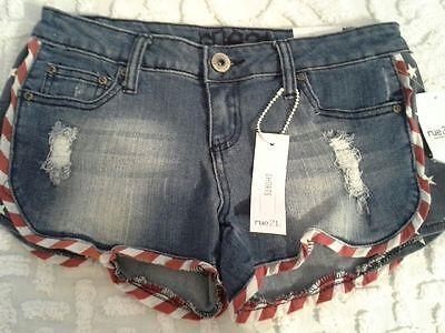 Patriotic jean denim shorts American flag size 5 juniors rue21 stars stripes