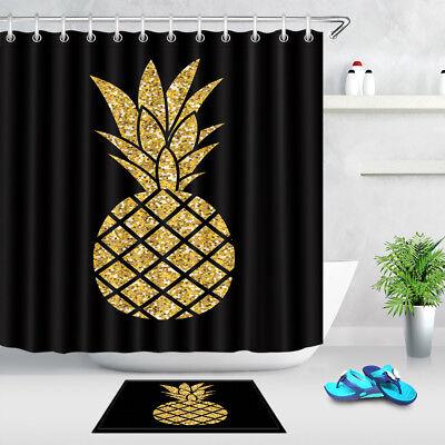 Waterproof Fabric Golden Pineapple Black Backdrop Shower Curtain Liner Bathroom