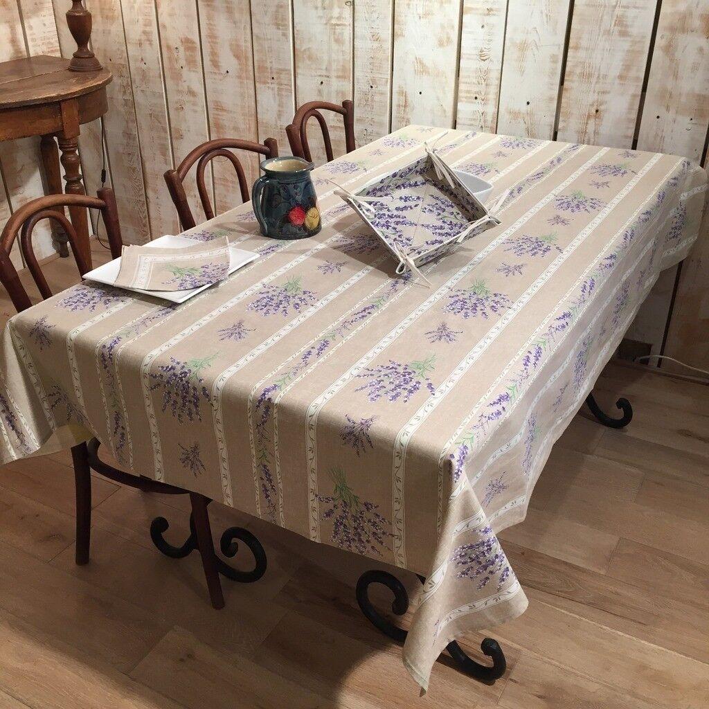 Acrylique enduit coton rectangle 60x120 + 8 serviettes FRENCH PROVENCE Nappe