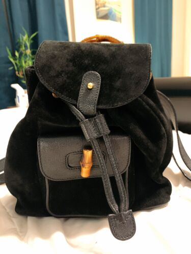 Authentic Gucci Vintage Bamboo Backpack Suede Mini