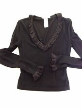 DOLCE AND GABBANA Black V-neck Metallic Ruffled Neck Sleeve Detail S M