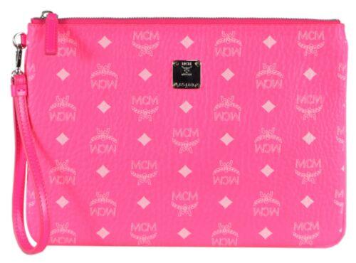 New MCM Neon Pink Coated Canvas Visetos Medium Flat Purse Wristlet Pouch