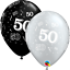 25 Negro Edad de Plata 50 Globos de Látex Fiesta De Cumpleaños Helio//Aire Qualatex 25226