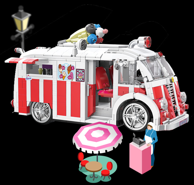 Bausteine Xingbao Baukästen Eiscreme Fahrzeug Modell Modell Spielzeug 1000PCS