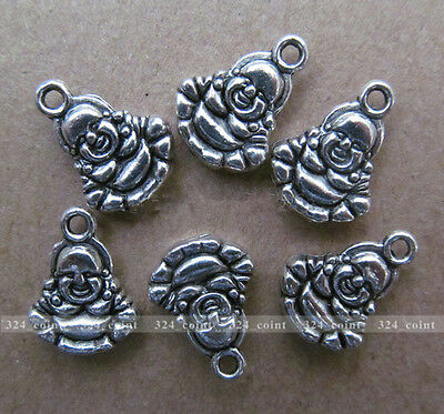 P069 20pcs Tibetan Silver Charm Double-sided Buddha Accessories Wholesale