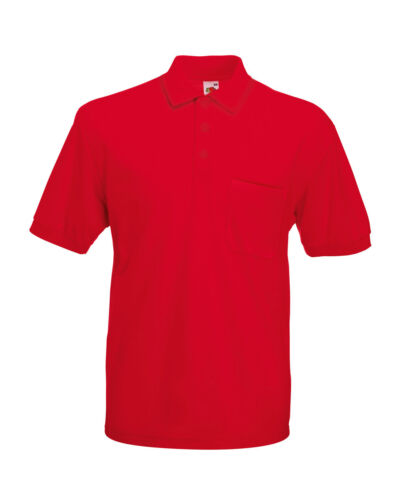 Adult Fruit Of The Loom 65//35 Pocket Piqué Polo Polo shirt Men/'s Polo top