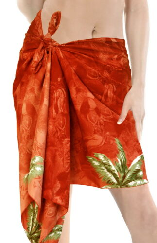 "LA LEELA Likre Swimsuit Casual Women Beach Sarong Printed 78/""X21/"" Orange/_370"