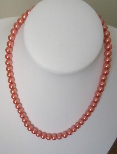 8mm sólo 6 Colores corales perlas de vidrio collar de cadena de extensión de langosta broche Ml