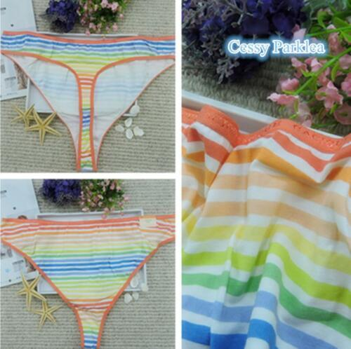 """/""""CACIQUE/"""" Plus Size Cotton Lycra Rainbow Print Wide-Side Thong w// Logo Waistband"""