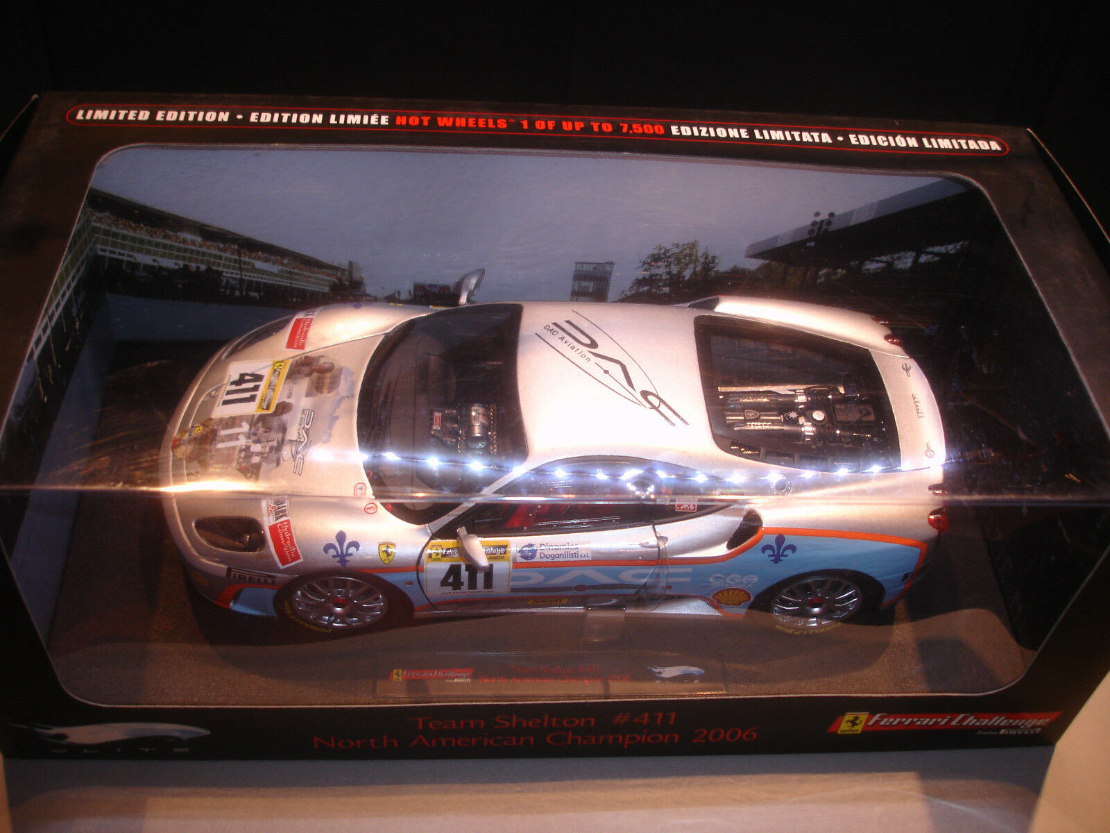 Ferrari f430 team shelton north american champion 2006 hot wheels elite 1   18.