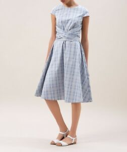Hobbs-dress-034-Madison-034-pale-blue-check-twitchell-style-dress-UK-10-us-6-eu-36