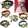Vintage Women Tree Leaf Weave Wrap Retro Quartz Leather Bracelet Wrist Watch