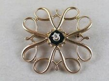 Avon 10K Yellow Gold Brooch Pin with Dimond & Black Enamel 2.9g [2643]