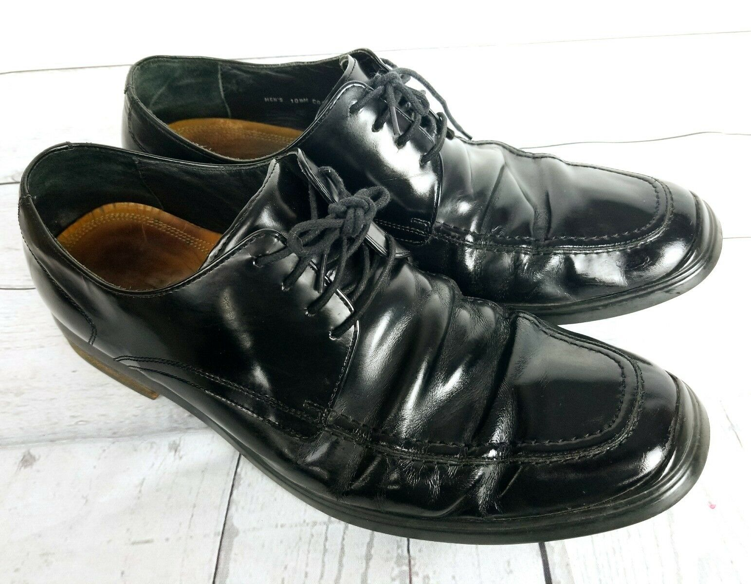 559d914e985 Cole Haan Air Mens 10.5 M Black Leather Apron Toe Oxford Casual ...