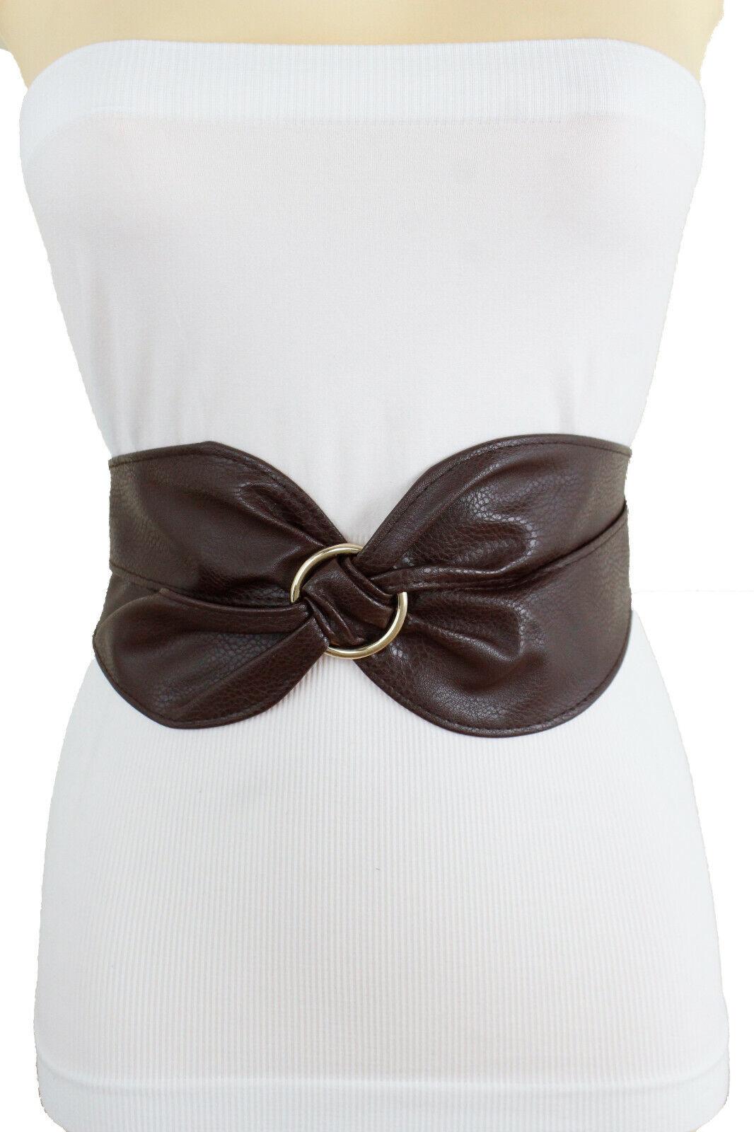 Cute Women Wide Brown Twisted Fabric Hip High Waist Corset Comfortable Belt S M