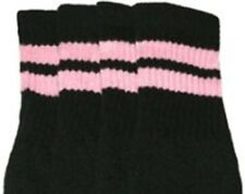 """22"""" KNEE HIGH BLACK tube socks with BABY PINK stripes style 2 (22-6)"""