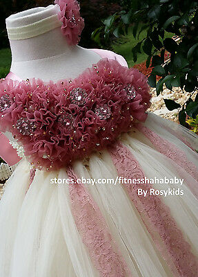 ivory dusty pink tutu dress flower girl dress girl dress
