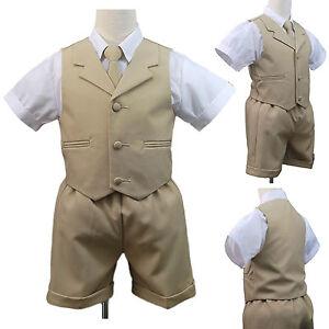 Khaki New Boy Infant & Toddler Eton Formal Vest Shorts Suit S M L XL 2T 3T 4T