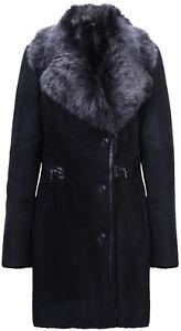 e4d5a2a9e763 Women s Black Brissa Suede Merino Sheepskin Leather Coat With ...