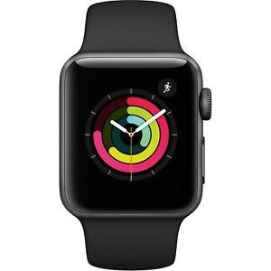 Apple Watch Gen 3 Series 3 38mm Space Gray Aluminum - Black Sport Band MTF02CL/A