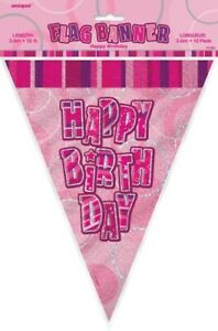 GLITZ-PINK-FLAG-BANNER-HAPPY-BIRTHDAY-HANGING-DECORATION-PARTY-SUPPLIES