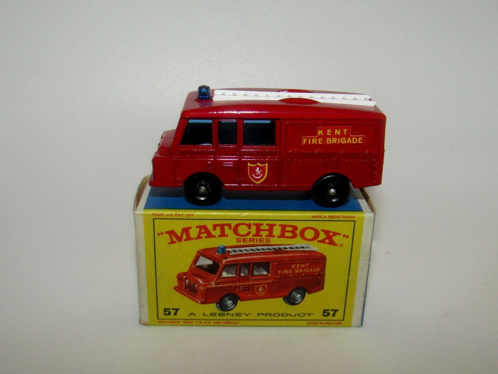 Lesney Matchbox No 57 Land Rover Fire Truck Kent Fire Brigade Labels MIB E4 Box