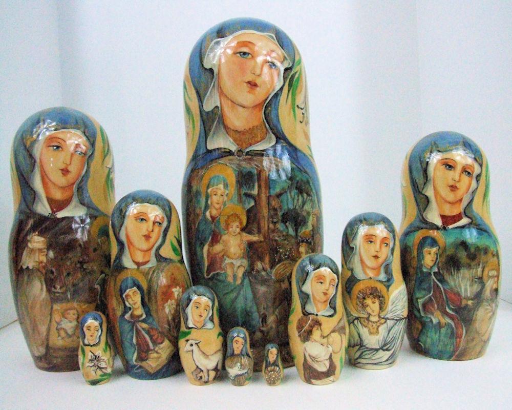 10 un. pintado a mano uno de una tipo Muñeca Rusa de Anidación de  Cristo'S Natividad