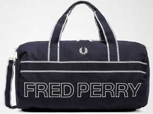 FRED PERRY 2019 Sports Canvas Barrel Bag Navy Gym LAPTOP Work Travel ... 3512e88888181