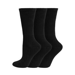 Ladies Soft Cotton EXTRA WIDE Medical Non Binding Diabetic Socks 4-8 Uk Black