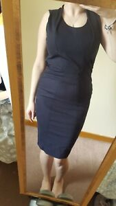 FRENCH-CONNECTION-Navy-Stretch-Bodycon-Wiggle-Pencil-Dress-Short-Sleeves-UK-6