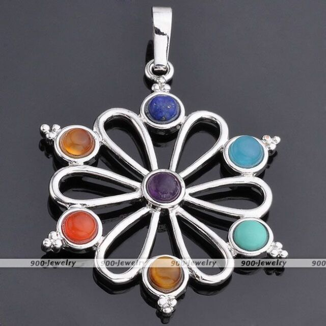 7 Chakra Point Healing Flower Of Tree Resin Gemstone Charms Pendant For Necklace