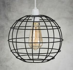 INDUSTRIAL-CAGE-STYLE-RETRO-CEILING-PENDANT-WIRE-LIGHT-LAMP-SHADE-METAL-EASY-FIT