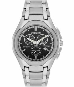 Citizen Eco-Drive Men's Chronograph Silver-Tone Bracelet 42mm Watch AT0940-50F