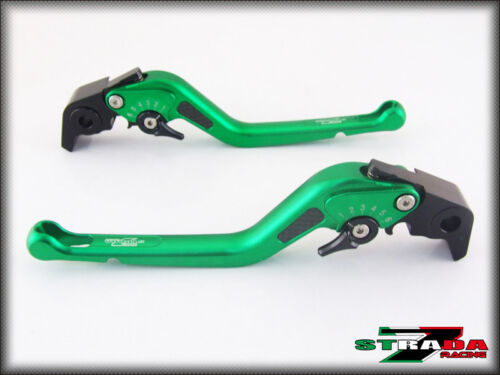 BMW R1200GS Adventure 201418 Strada 7 Adjustable Long Carbon Inlay Levers Green