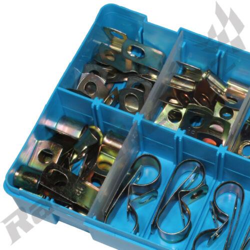 Non Doublé P Clips Zinc Plaqué Colliers Pour Tuyaux Tube Carburant bateaux voitures Câbles Boîte x60