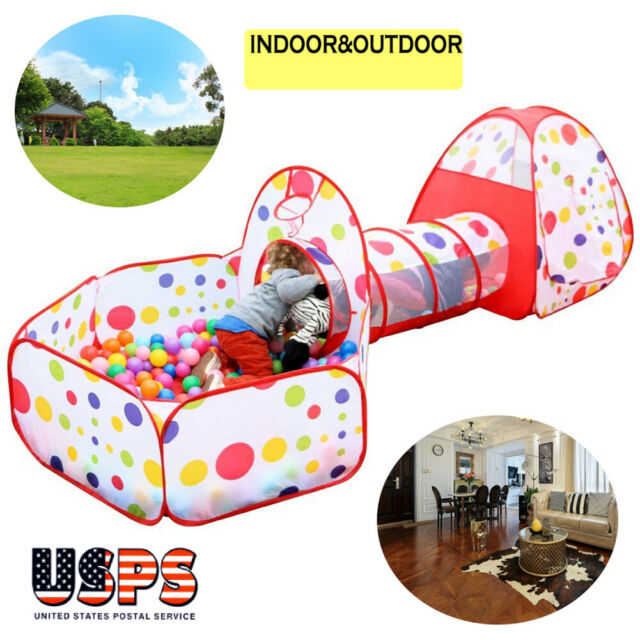 the latest ef47a c1883 3 in1 Play Tent Kids Toddlers Tunnel Set Pop Up Children Baby Cubby  Playhouse US
