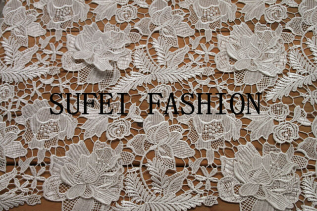 A23313D Guipure Lace 120cm wide in Ivory, red, black, silver sold by 0.5 yard